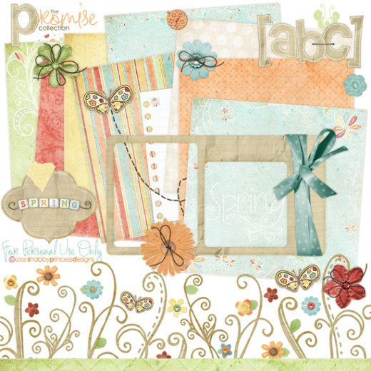 Digital scrapbooking kits come in beautiful color combinations!