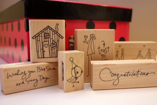 Rubber stamps come in many styles and sizes.