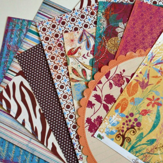 There a many patterned scrapbook papers to choose from.