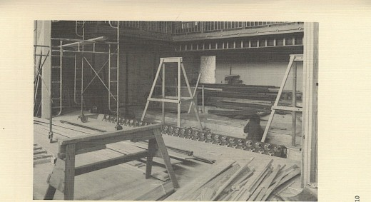 Construction being done inside the Opera House during the 1970's.