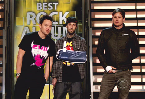 Blink 182 at The 51st Grammy Awards on February 8, 2009 announcing their reunion