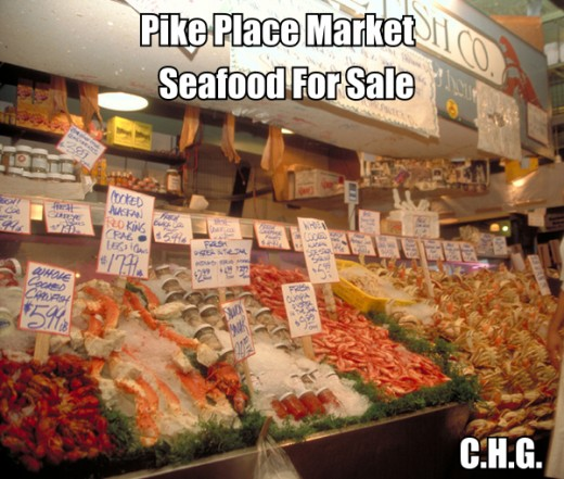 Seafood For Sale At The Pike Place Market