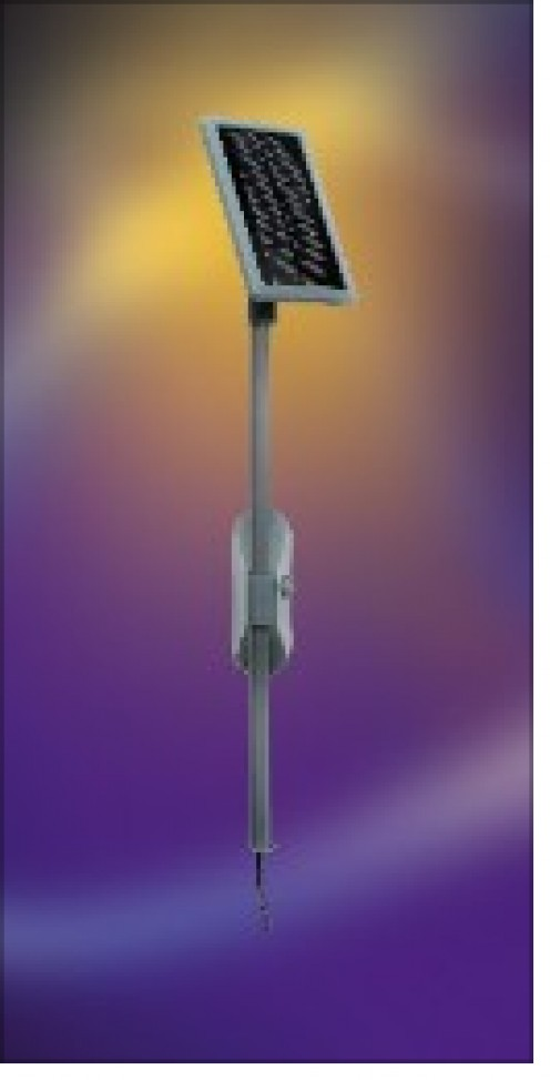 This is a somewhat dramatic presentation of a solar panel that powers a light fixture in a garage or closet.