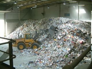 A small amount of the daily recycle waste collection