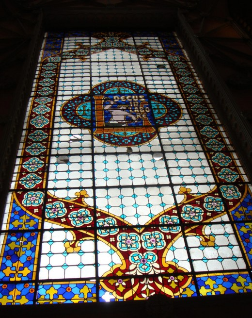 """Decus in Labore"", inscription in the stained glass ceiling at Lello e Irmao."