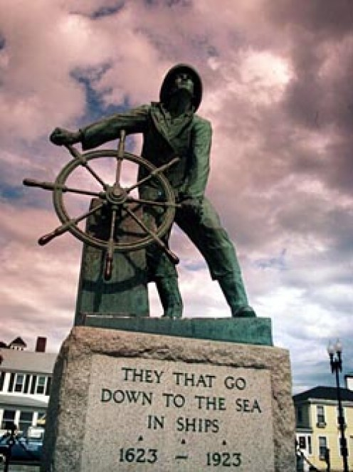 Gloucester, Massachusetts Fishermen's Memorial: currently, 10,000 names are engraved on the memorial plaque. The statue is said to be looking for good weather (govt photo, public domain).