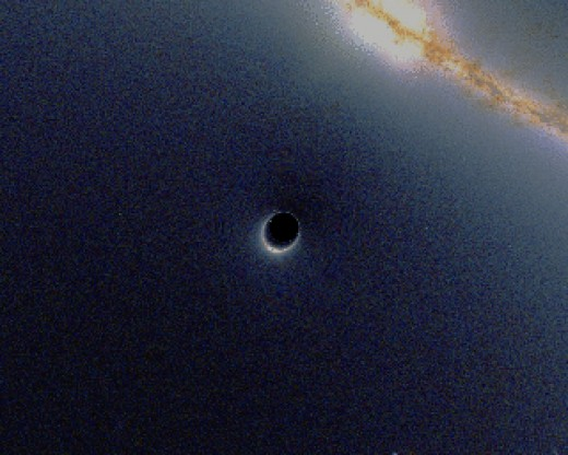 An animated picture showing how light is bent by the gravitational field of a black hole. Credit: http://commons.wikimedia.org/wiki/File:BlackHole_Lensing.gif where permission and conditions are found.