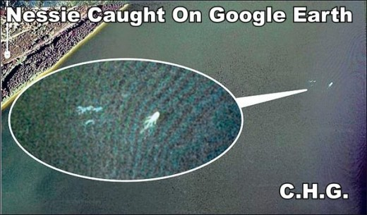 Apparently The Loch Ness Monster has been captured on Google Earth