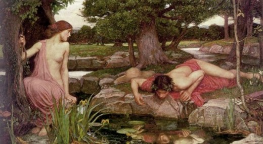 Ha! Look at Echo trying to get Narcissus to even look at her, but the guy's staring at his damn reflection!!!