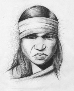 Phoolan Devi, a drawing by sylvie LS on Fickr