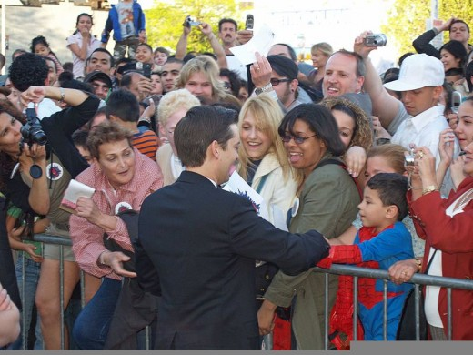 Tobey Maguire greets fans at the premiere in Queens, New York.