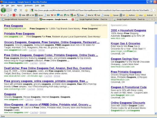 Search results returned by Google for the phrase Free Coupons (no quotes)