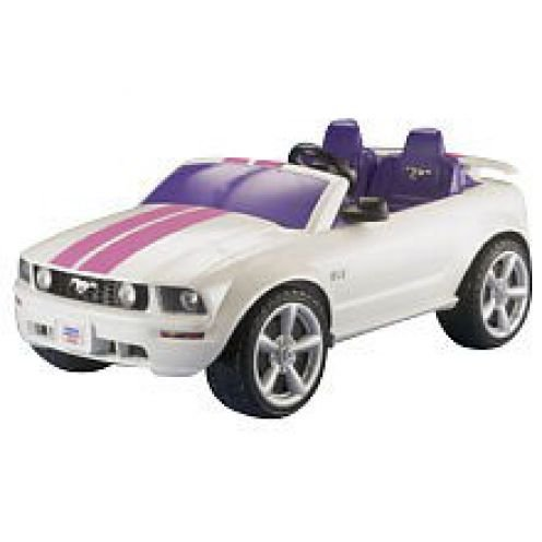 This Fancy Schmancy white Power Wheels Ford Mustang is incredibly sturdy, and has an astonishing long lasting battery life. It seats up to 2 kids, and no more than the amount of 2 kids, like all of the other Power Wheels Ford Mustangs. Also the same