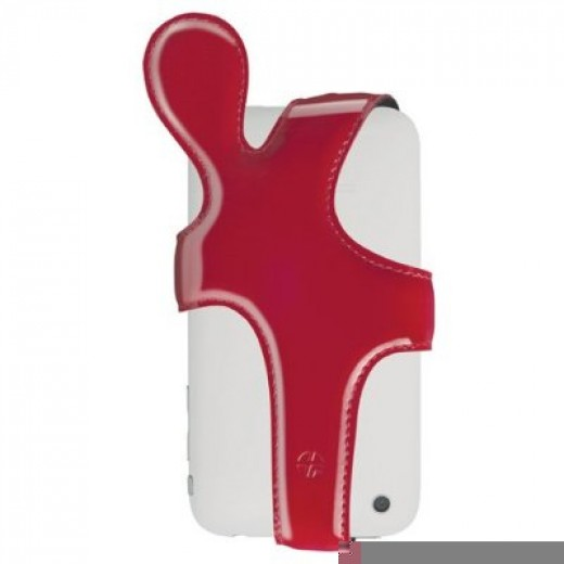 iHug Red Leather Holder Case for iPhone