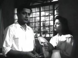 A scene from 'Dr.Kotnis ki amar kahani-Shantharam and Jayashree, as leading roles.