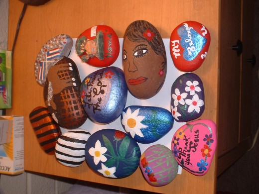 These are my graditude rocks, they are like different things.Thoughts are things.
