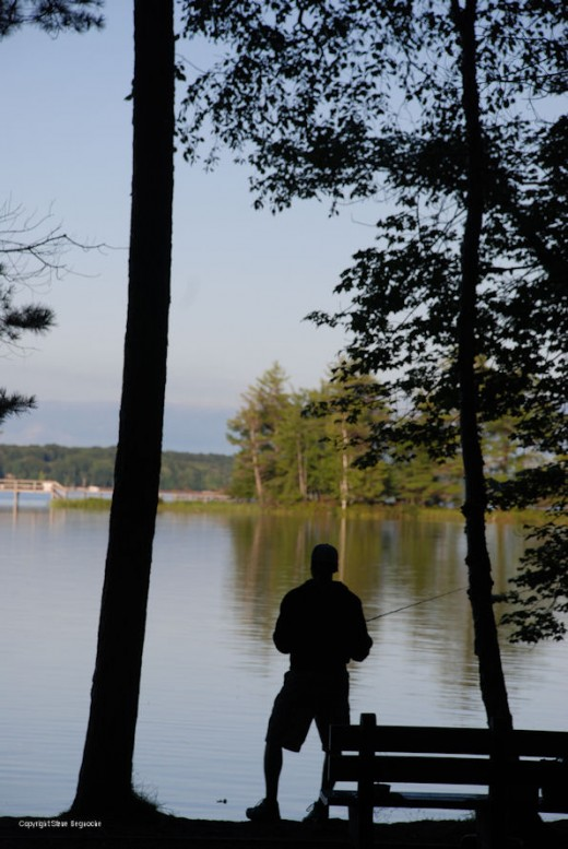 A fisherman tries his luck on Hamlin Lake in Ludington State Park.