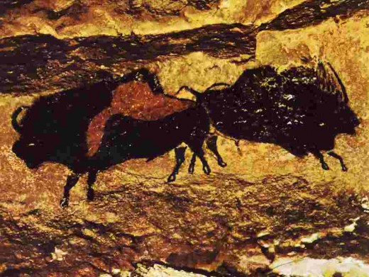 Bisons painted some 30000 years ago in the caves at Lascaux, France