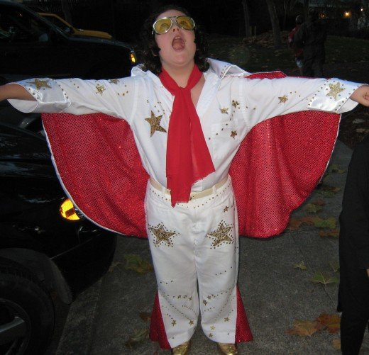 Jesse was Elvis one year. I made his cape and designed it with Elvis' gold star design.
