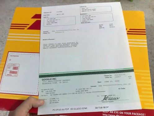 This is what a check from Adsense looks like