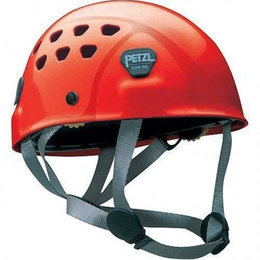 A classic example of a polycarbonate shell with harness suspension system: Petzl Ecrin a tough but a little heavy helmet 475 grams