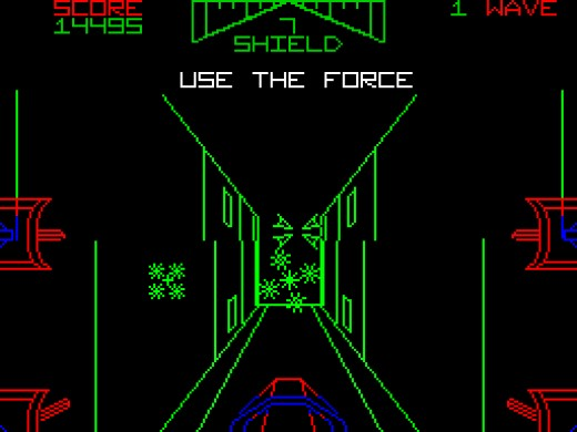 The famous trench run on the ZX Spectrum