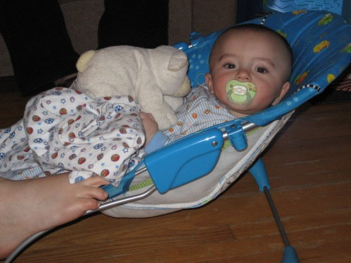 Bouncers, swings, and binkeys (pacifiers) are a great way to help calm your baby.