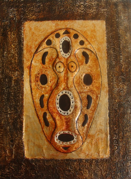 Mother Africa: Unique African Metal Art by Injete Chesoni. Painting of an African Mask on Hand-Embossed Metal.