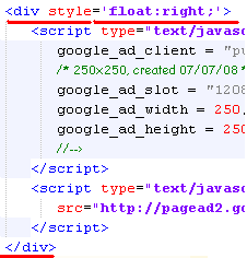 HTML code to add Adsense block inside posts