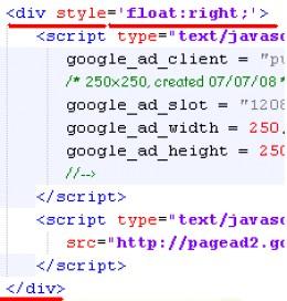 HTML code to add Adsense block inside posts