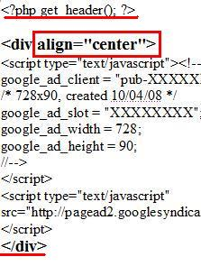 HTML code to add a leader board Adsense block