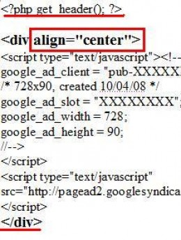 HTML code to add a leader board Adsense block