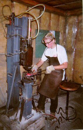 Blacksmith Class Using Air Hammer.