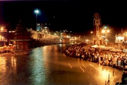 The famous pilgrim Haridwar or Hardwar lit with thousands of lamps at the time of Aarti and Puja. I visited Haridwar just a few days ago and I know the beauty of this famous place for Hindu devotees.