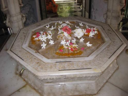 Dadaguru Foot prints in Rock crystal at Rambagh Dadabadi