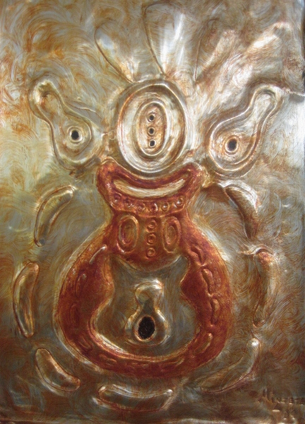 "Abstract Metal Art Painting by Injete Chesoni: ""My Fathers Mask,"" from the African Art Mask Collection"