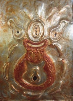 """Abstract Metal Art Painting by Injete Chesoni: """"My Fathers Mask,"""" from the African Art Mask Collection"""
