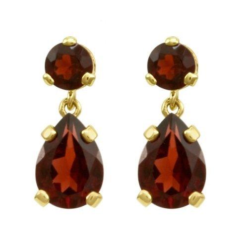 Garnet and yellow gold earrings
