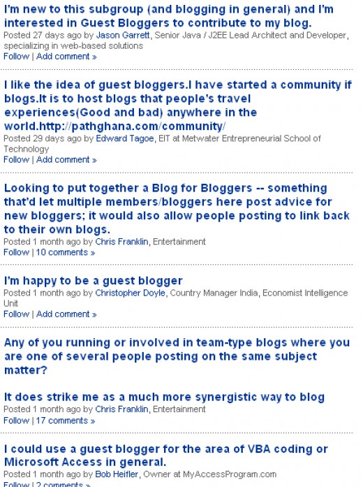 "screen shot of the discussion area of LinkedIn subgroup ""The Guest Blogger"""