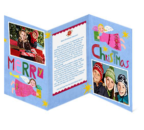 Tri-fold card has room for a Christmas letter inside.