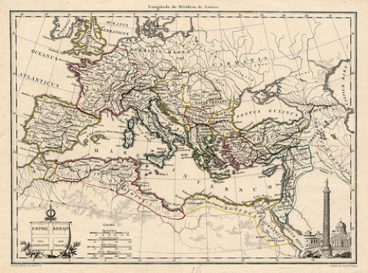 The Map of The Ancient Roman Empire. Large territory of the old Rome - Photo