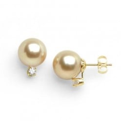 South Sea golden pearl and diamond earrings