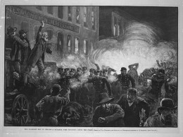 This 1886 engraving was the most widely reproduced image of the Haymarket affair. It inaccurately shows Fielden speaking, the bomb exploding, and the rioting beginning simultaneously.[