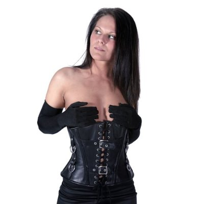 Black Steel Boned Sexy Fetish Gothic Underbust Leather Corset Cupless Hourglass