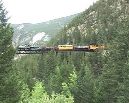 Train crossing bridge on Georgetown Loop