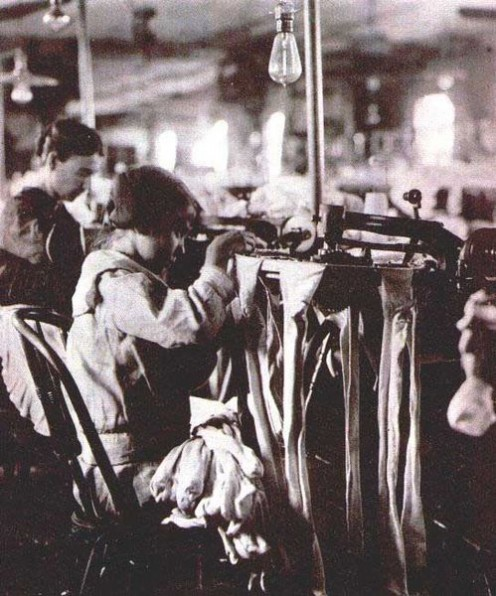 Training and education in the past for unemployment. This may be a child and child labor laws were enacted to prtected those like her. This is a picture of sewing work from Department of Labor Wirtz Labor Library (public domain),