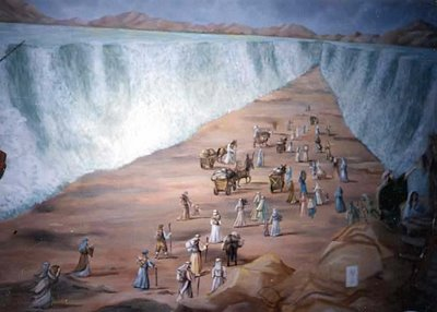the Moses People walking across in middle of the sea