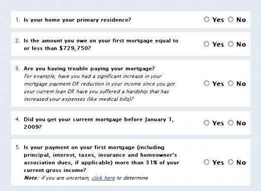 Screen shot of HAMP foreclosure program website qualification questions