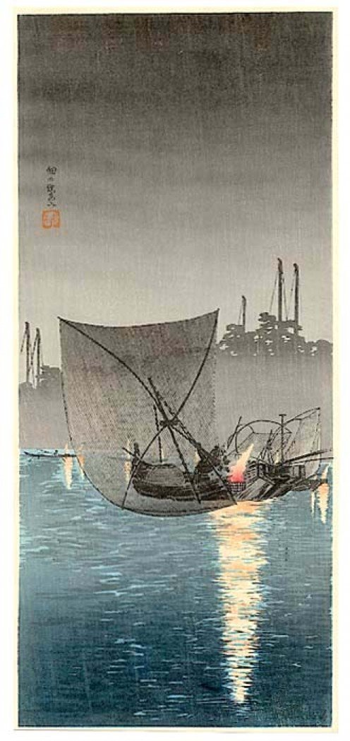 Night fisherman #2 - Woodblock by Shotei