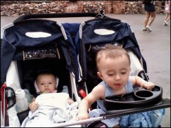 My children in the BOB stroller